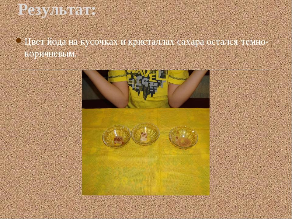 Цвет йода на кусочках и кристаллах сахара остался темно-коричневым. Результат: