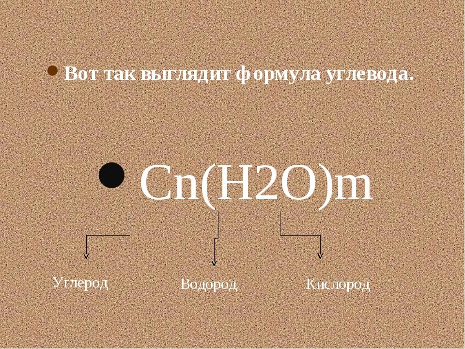 Cn(H2O)m Углерод Водород Кислород Вот так выглядит формула углевода.