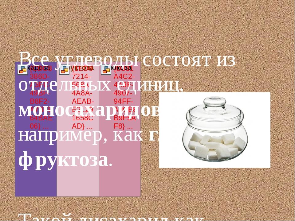 Все углеводы состоят из отдельных единиц, моносахаридов, таких, например, ка...