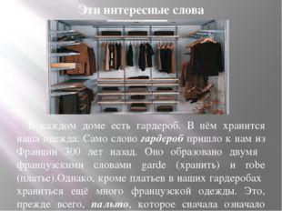 Эти интересные слова В каждом доме есть гардероб. В нём хранится наша одежда.