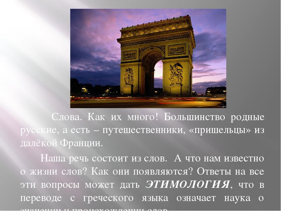 Слова. Как их много! Большинство родные русские, а есть – путешественники, «...