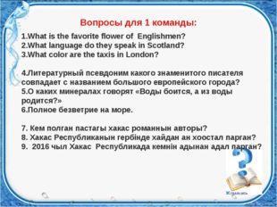 Вопросы для 1 команды: What is the favorite flower of Englishmen? What langu