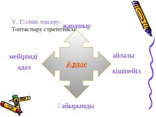 V. Түсінік тексеру: Топтастыру стратегиясы: жанашыр адал қайырымды мейірімді