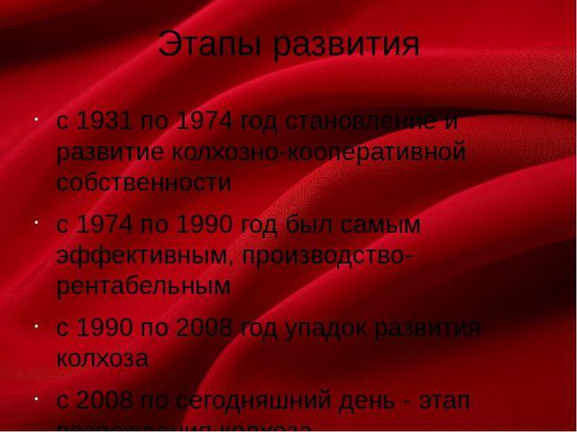 Этапы развития с 1931 по 1974 год становление и развитие колхозно-кооперативн...