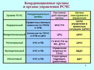 * Координационные органы и органы управления РСЧС