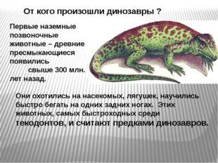 От кого произошли динозавры ? Первые наземные позвоночные животные – древние