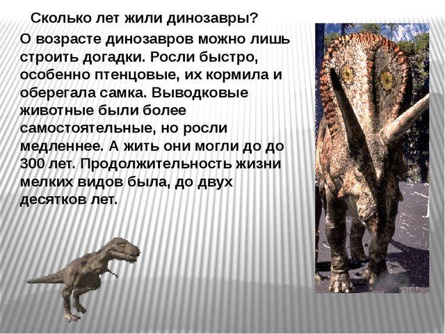 О возрасте динозавров можно лишь строить догадки. Росли быстро, особенно птен...