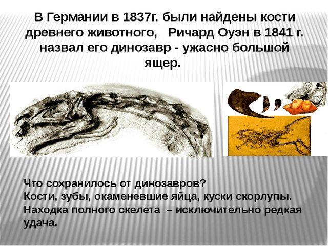 В Германии в 1837г. были найдены кости древнего животного, Ричард Оуэн в 184...