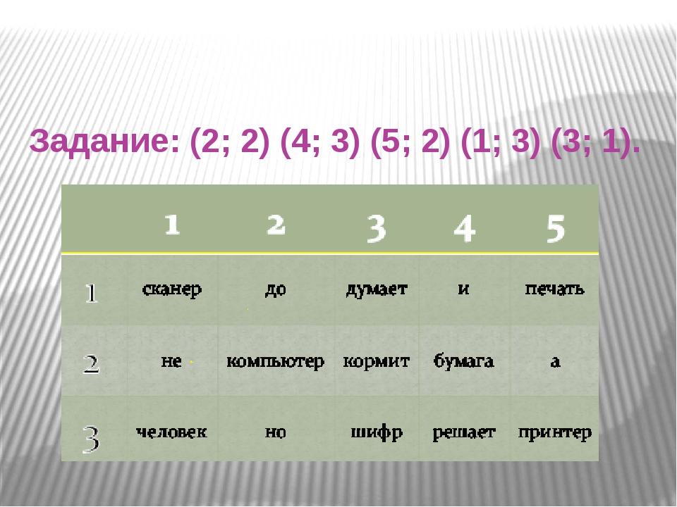 Задание: (2; 2) (4; 3) (5; 2) (1; 3) (3; 1).