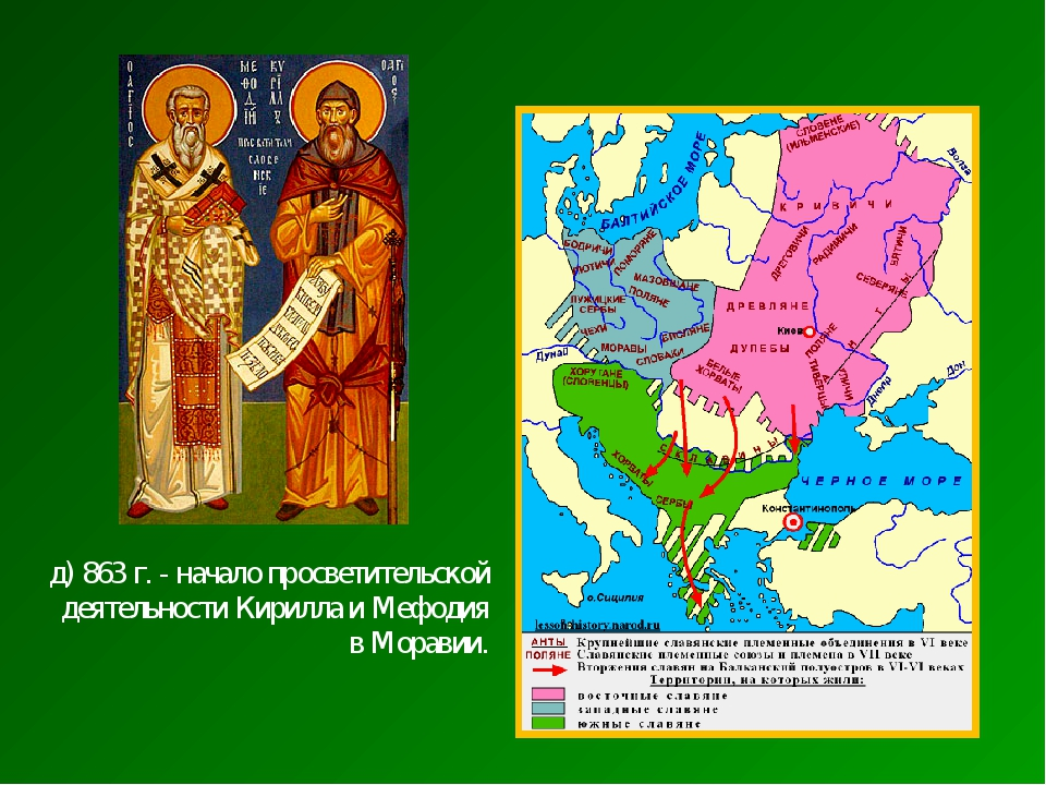 д) 863 г. - начало просветительской деятельности Кирилла и Мефодия в Моравии.
