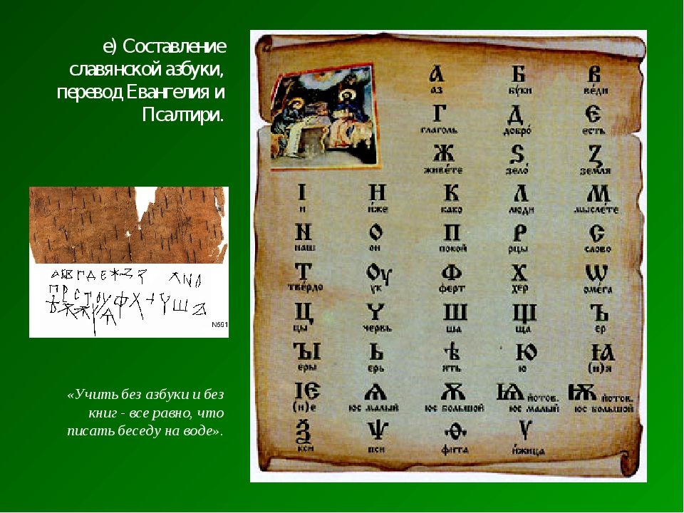 е) Составление славянской азбуки, перевод Евангелия и Псалтири. «Учить без аз...