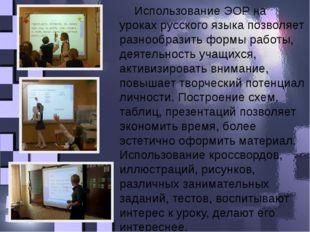 Использование ЭОР на уроках русского языка позволяет разнообразить формы рабо