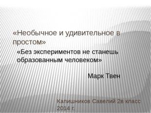 «Необычное и удивительное в простом» Капишников Савелий 2в класс 2014 г. «Без