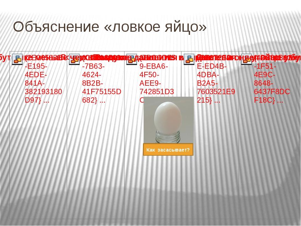 Объяснение «ловкое яйцо» Как засасывает?