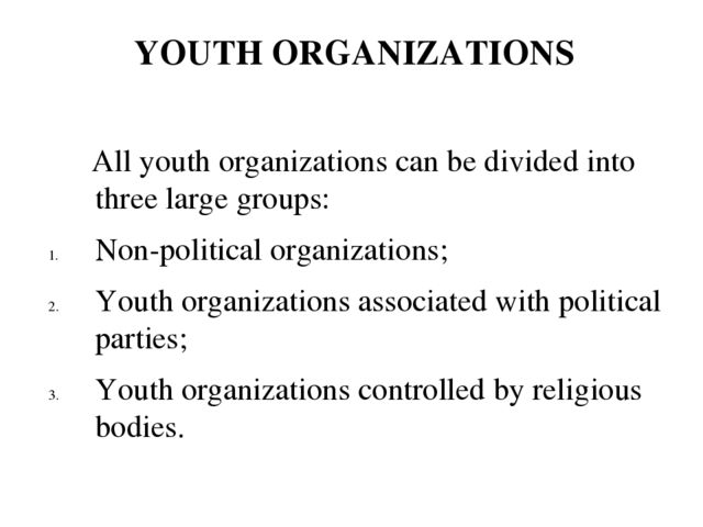 All youth organizations can be divided into three large groups: Non-politica...