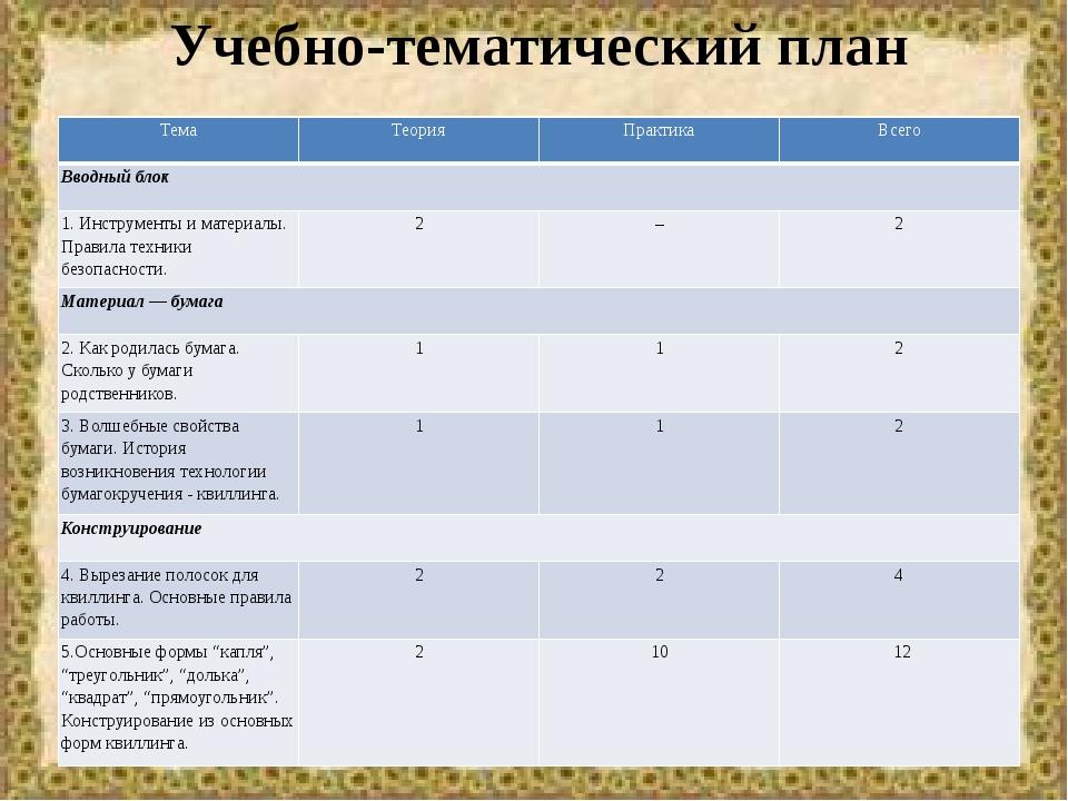 Учебно-тематический план Тема Теория Практика Всего Вводный блок 1. Инструмен...