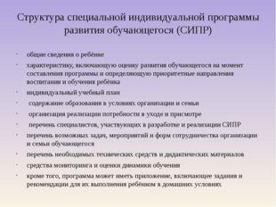 Структура специальной индивидуальной программы развития обучающегося (СИПР) о
