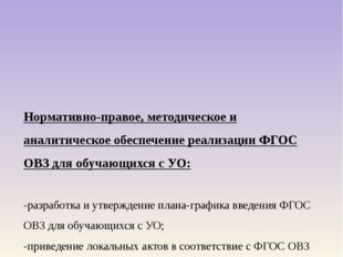 Нормативно-правое, методическое и аналитическое обеспечение реализации ФГОС О