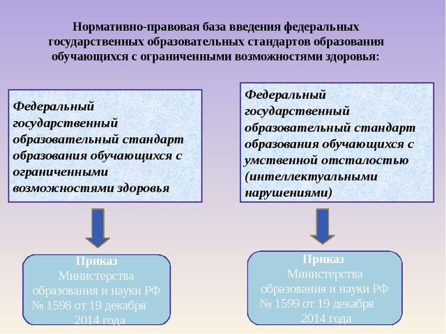 Нормативно-правовая база введения федеральных государственных образовательных...