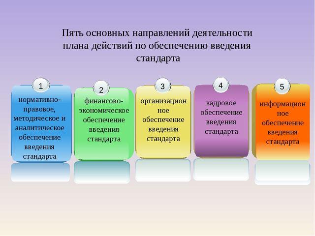 Пять основных направлений деятельности плана действий по обеспечению введения...