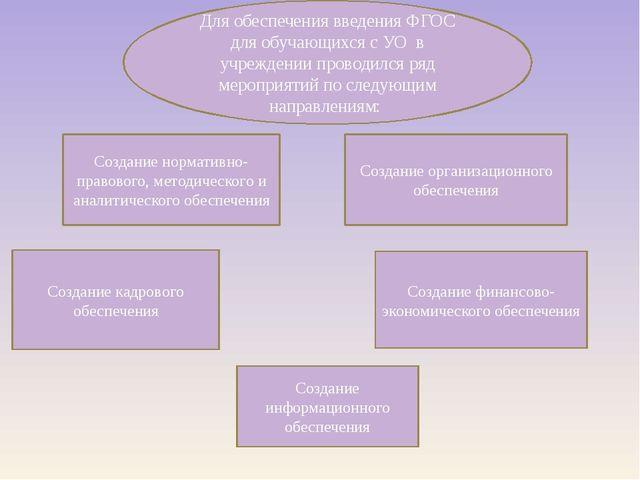 Создание нормативно-правового, методического и аналитического обеспечения Соз...