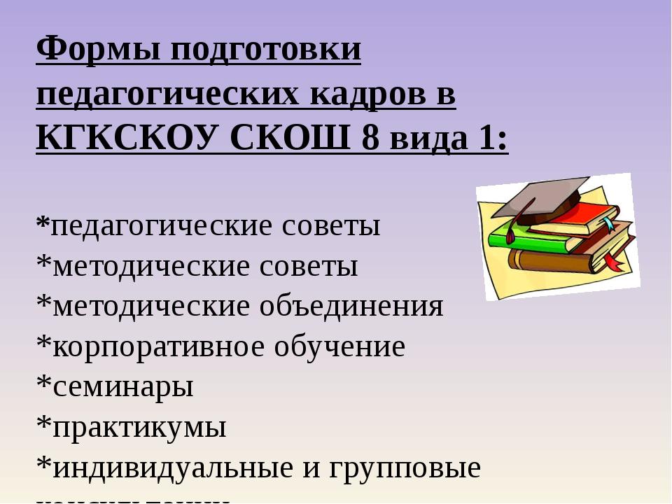 Формы подготовки педагогических кадров в КГКСКОУ СКОШ 8 вида 1: *педагогическ...