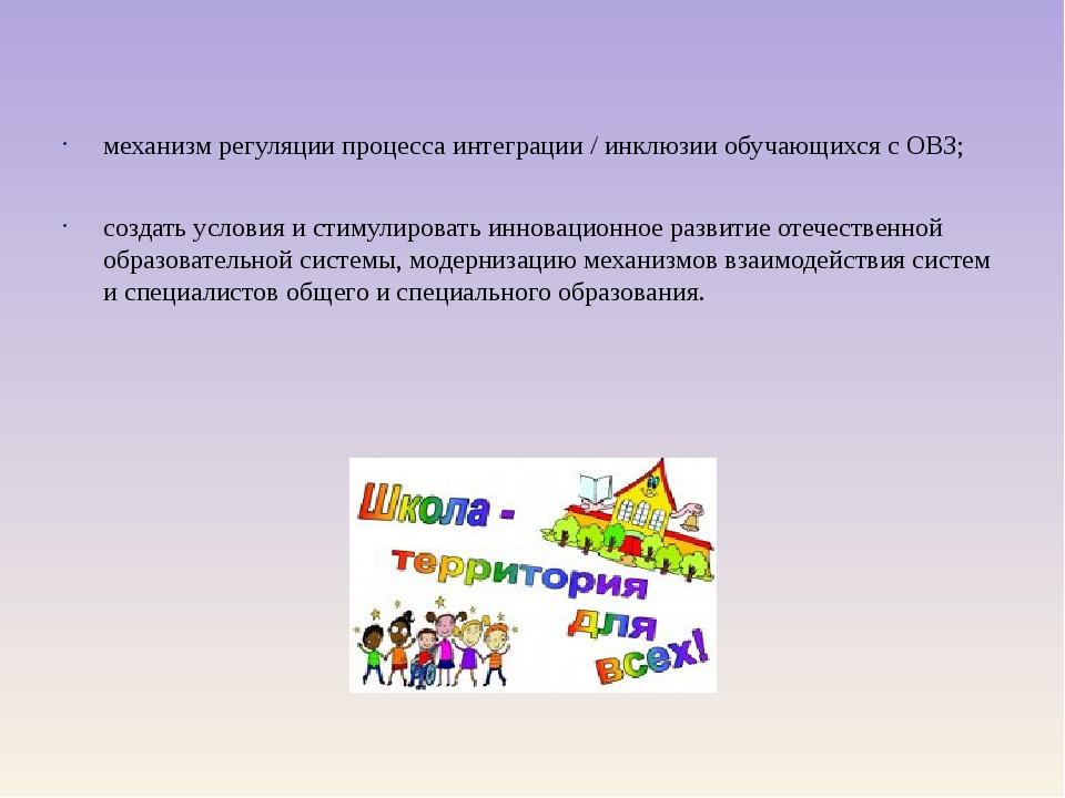 механизм регуляции процесса интеграции / инклюзии обучающихся с ОВЗ; создать...