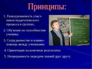 1. Разноуровневость участ-ников педагогического процесса в группах; 2. Обучен