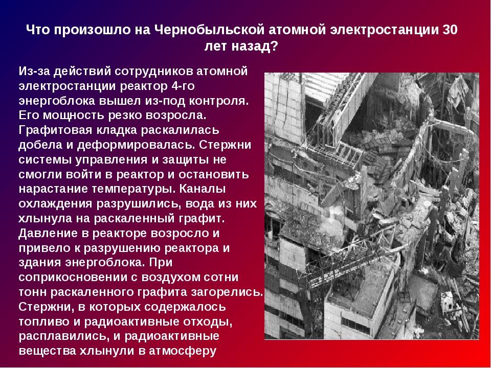 Что произошло на Чернобыльской атомной электростанции 30 лет назад? Из-за дей...