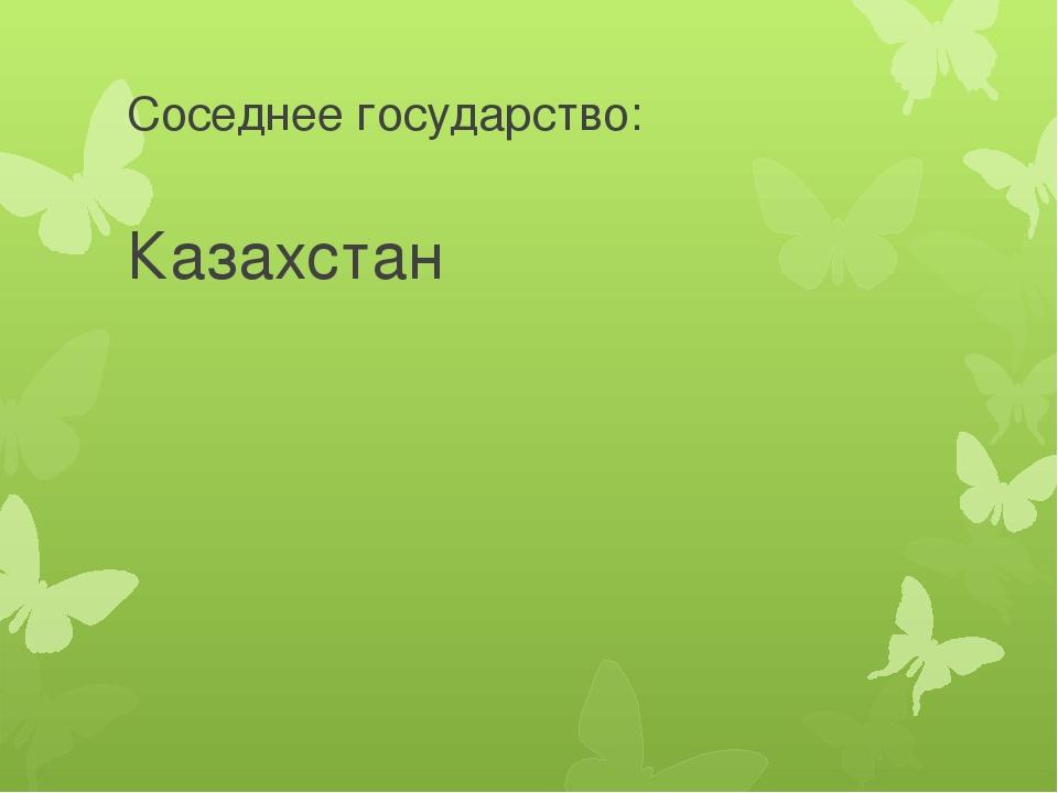 Соседнее государство: Казахстан