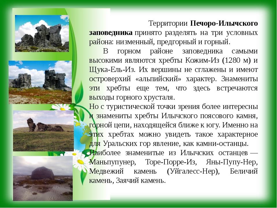 Территории Печоро-Илычского заповедникапринято разделять на три условных ра...