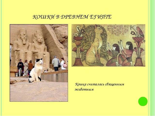 КОШКИ В ДРЕВНЕМ ЕГИПТЕ Кошка считалась священным животным