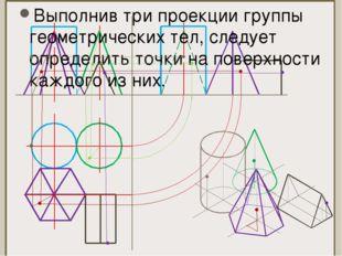 Выполнив три проекции группы геометрических тел, следует определить точки на