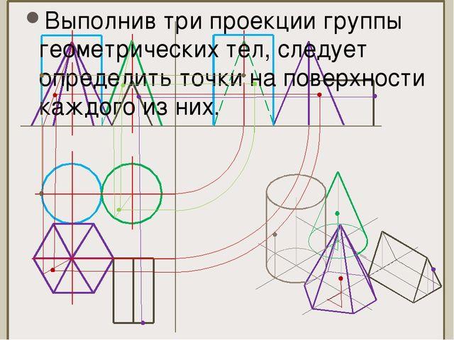 Выполнив три проекции группы геометрических тел, следует определить точки на...