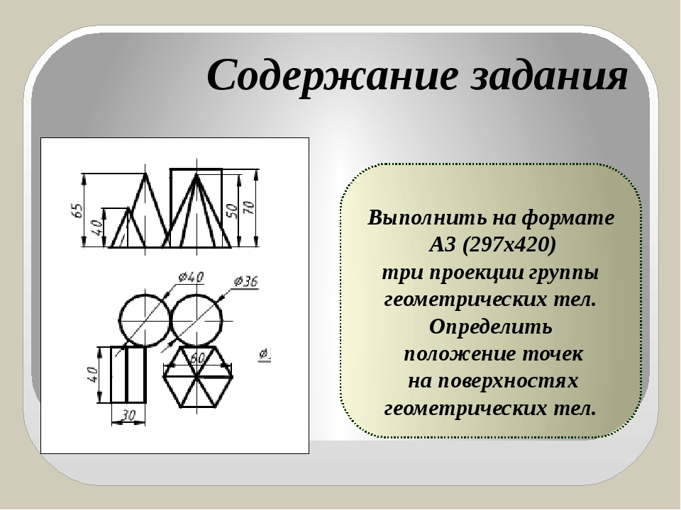 Выполнить на формате А3 (297х420) три проекции группы геометрических тел. Оп...