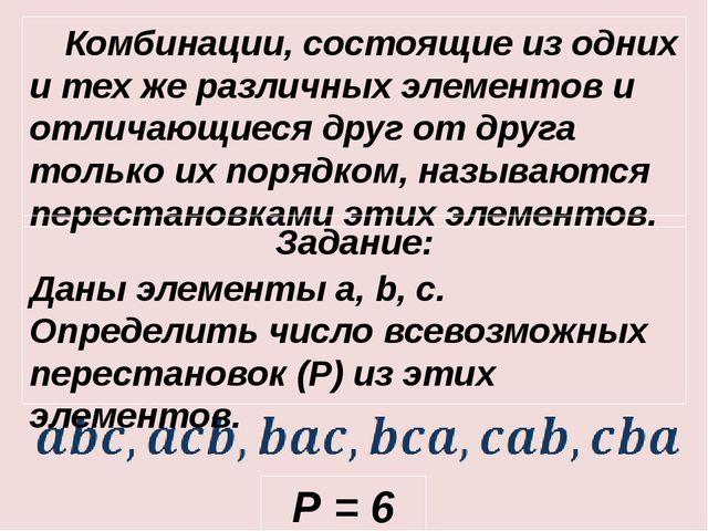 Комбинации, состоящие из одних и тех же различных элементов и отличающиеся д...