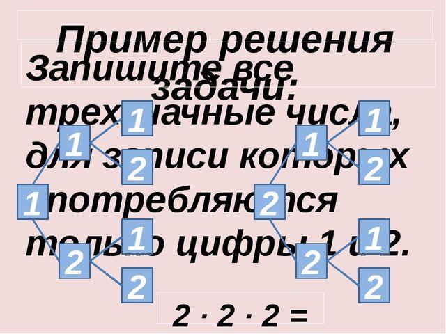 Пример решения задачи: Запишите все трехзначные числа, для записи которых упо...