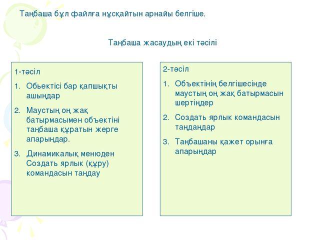 Таңбаша бұл файлға нұсқайтын арнайы белгіше. Таңбаша жасаудың екі тәсілі 1-тә...