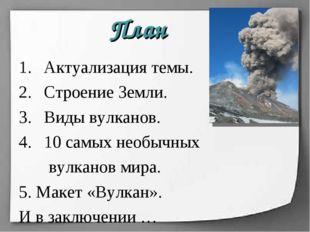 Актуализация темы. Строение Земли. Виды вулканов. 10 самых необычных вулканов