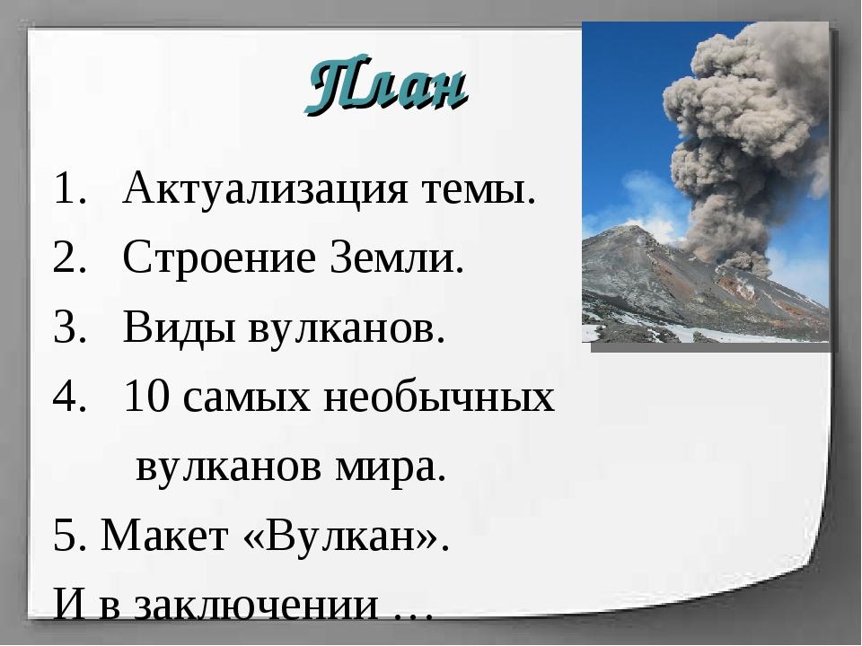 Актуализация темы. Строение Земли. Виды вулканов. 10 самых необычных вулканов...