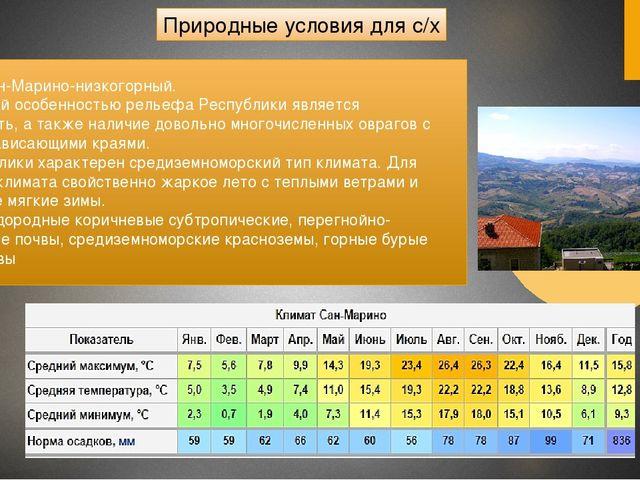 Природные условия для с/х Рельеф Сан-Марино-низкогорный. Характерной особенн...