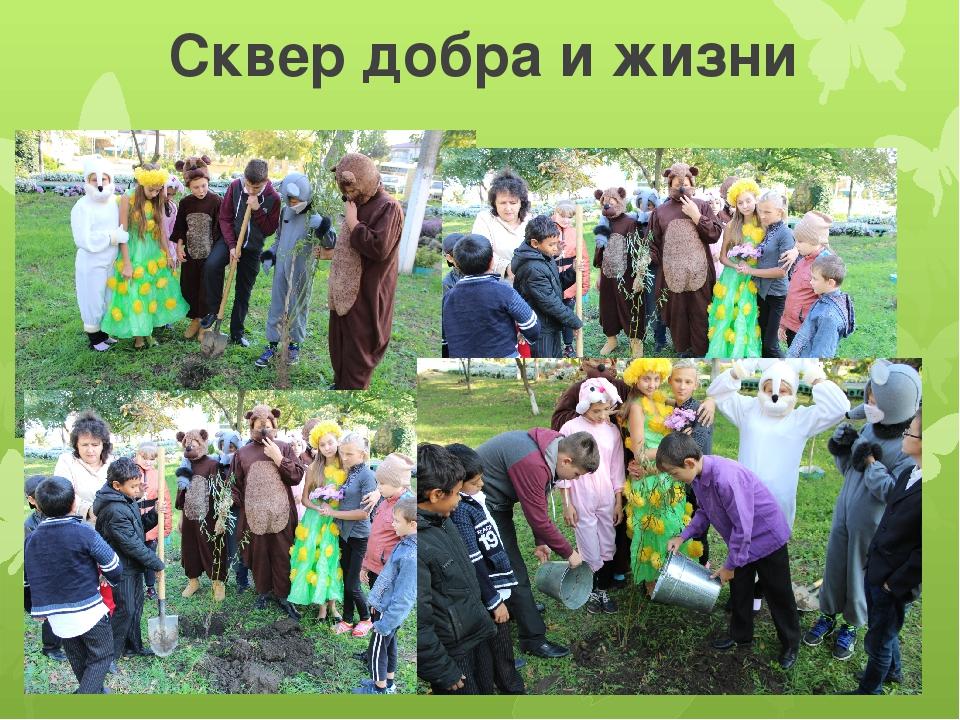Сквер добра и жизни Вот посадки, так посадки: Деревца растут на грядке. Здесь...