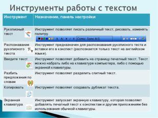 ИнструментНазначение, панель настройки  Рукописный текст Инструмен