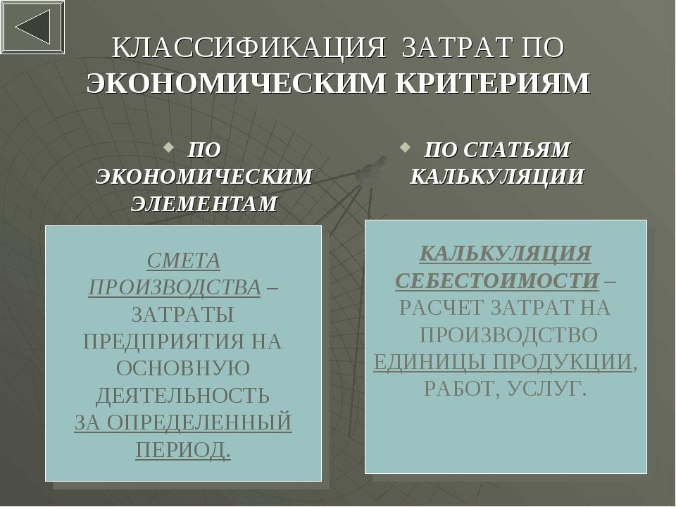 * КЛАССИФИКАЦИЯ ЗАТРАТ ПО ЭКОНОМИЧЕСКИМ КРИТЕРИЯМ ПО ЭКОНОМИЧЕСКИМ ЭЛЕМЕНТАМ...