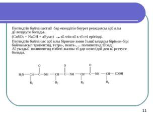 Пептидтік байланыстың бар екендігін биурет реакциясы арқылы дәлелдеуге болады