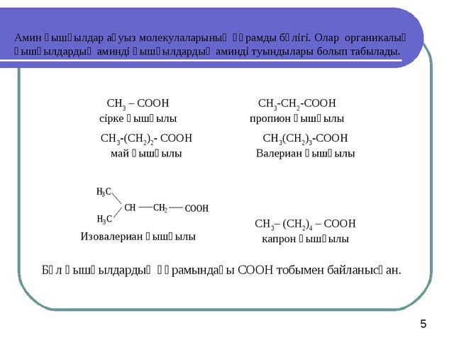 Амин қышқылдар ақуыз молекулаларының құрамды бөлігі. Олар органикалық қышқылд...