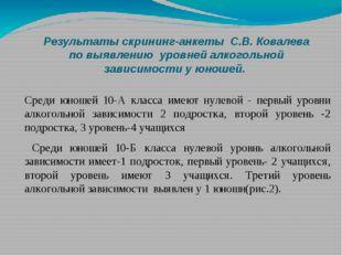 Результаты скрининг-анкеты С.В. Ковалева по выявлению уровней алкогольной за