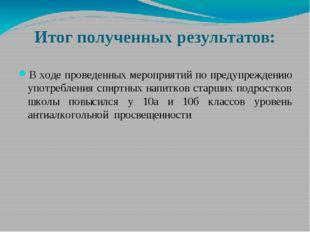 Итог полученных результатов: В ходе проведенных мероприятий по предупреждению