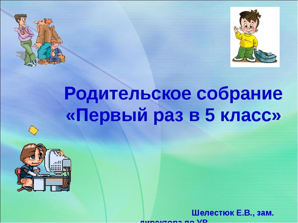 Родительское собрание «Первый раз в 5 класс» Шелестюк Е.В., зам. директора п...