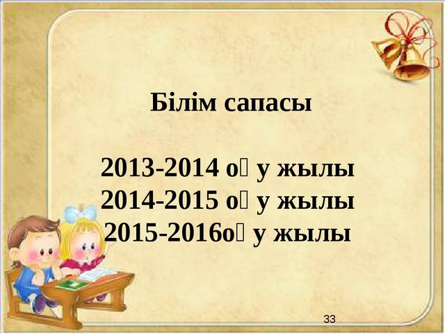 Білім сапасы 2013-2014 оқу жылы 2014-2015 оқу жылы 2015-2016оқу жылы